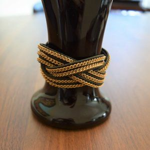 Gold Chain and Navy Blue Leather Braided Bracelet